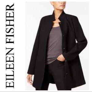 Eileen Fisher Textured Stand Collar Long Jacket